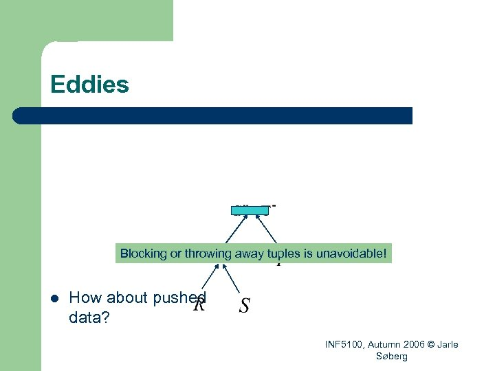 Eddies Blocking or throwing away tuples is unavoidable! l How about pushed data? INF