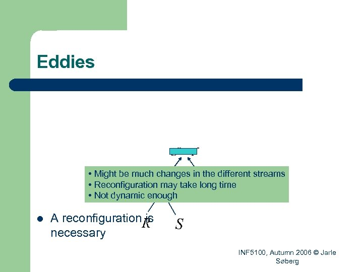 Eddies • Might be much changes in the different streams • Reconfiguration may take