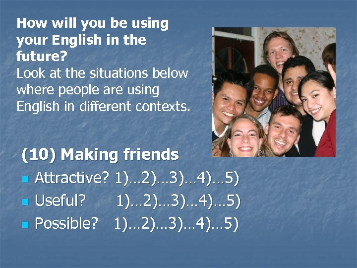 How will you be using your English in the future? Look at the situations