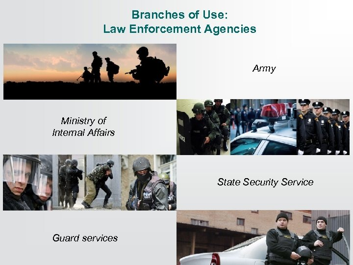 Branches of Use: Law Enforcement Agencies Army Ministry of Internal Affairs State Security Service