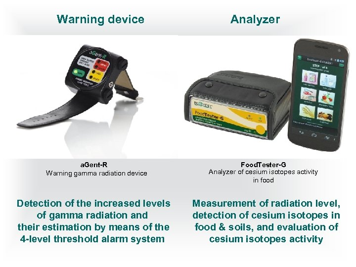 Warning device a. Gent-R Warning gamma radiation device Detection of the increased levels of