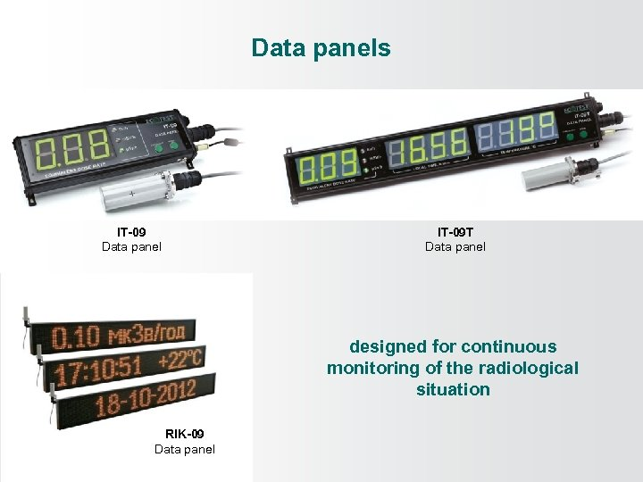Data panels IT-09 Data panel IT-09 Т Data panel designed for continuous monitoring of