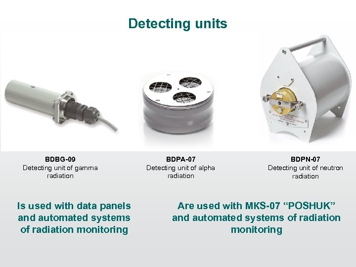 Detecting units BDBG-09 Detecting unit of gamma radiation Is used with data panels and