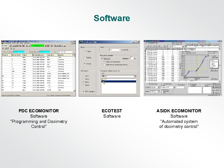 "Software PDC ECOMONITOR Software ""Programming and Dosimetry Control"" ECOTEST Software ASIDK ECOMONITOR Software ""Automated"