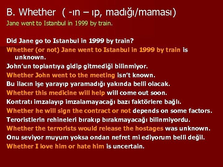 B. Whether ( -ın – ıp, madığı/maması) Jane went to Istanbul in 1999 by
