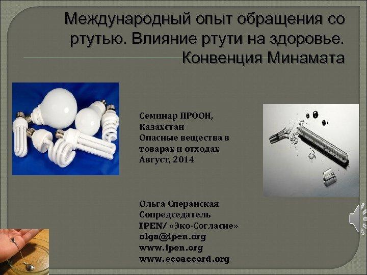 Международный опыт обращения со ртутью. Влияние ртути на здоровье. Конвенция Минамата Семинар ПРООН, Казахстан