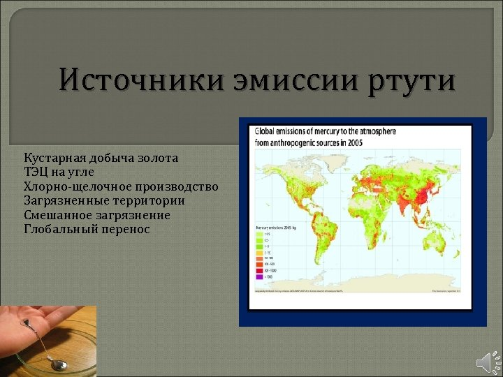 Источники эмиссии ртути Кустарная добыча золота ТЭЦ на угле Хлорно-щелочное производство Загрязненные территории Смешанное