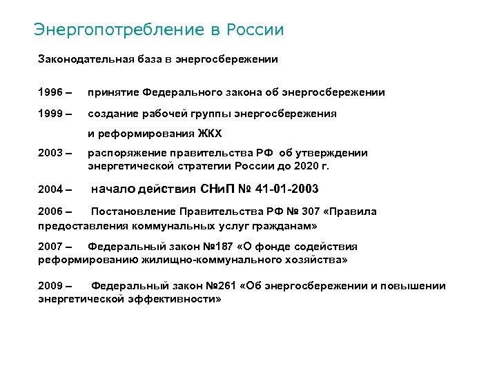 Энергопотребление в России Законодательная база в энергосбережении 1996 – принятие Федерального закона об энергосбережении