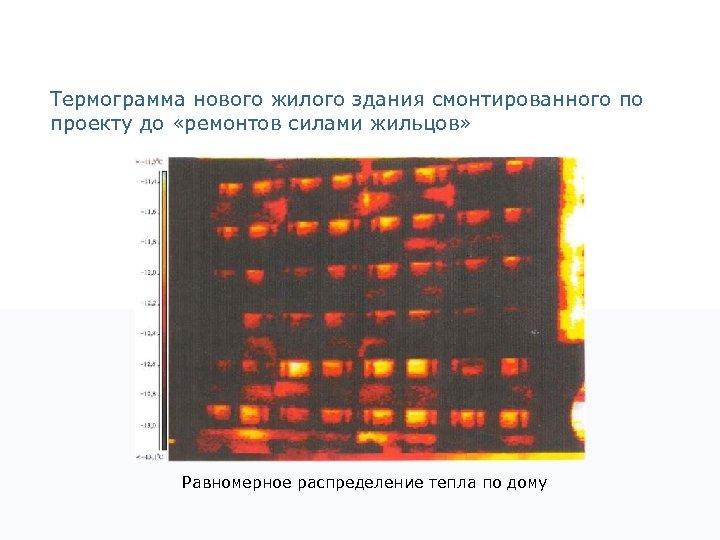 Термограмма нового жилого здания смонтированного по проекту до «ремонтов силами жильцов» Равномерное распределение тепла
