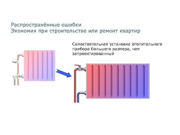 Распространённые ошибки Экономия при строительстве или ремонт квартир Самостоятельная установка отопительного прибора большего размера,