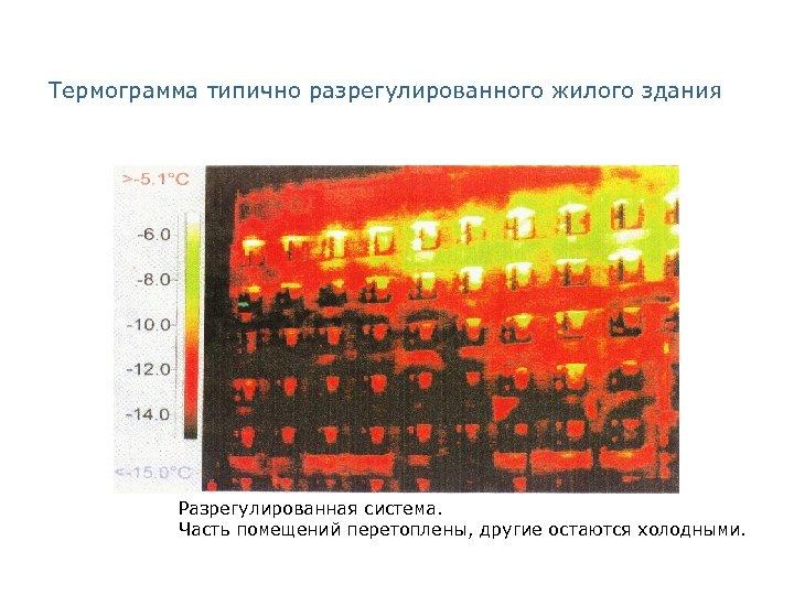 Термограмма типично разрегулированного жилого здания Разрегулированная система. Часть помещений перетоплены, другие остаются холодными.
