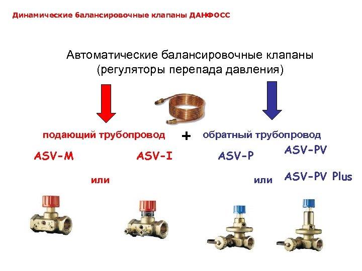 Динамические балансировочные клапаны ДАНФОСС Автоматические балансировочные клапаны (регуляторы перепада давления) подающий трубопровод ASV-M ASV-I