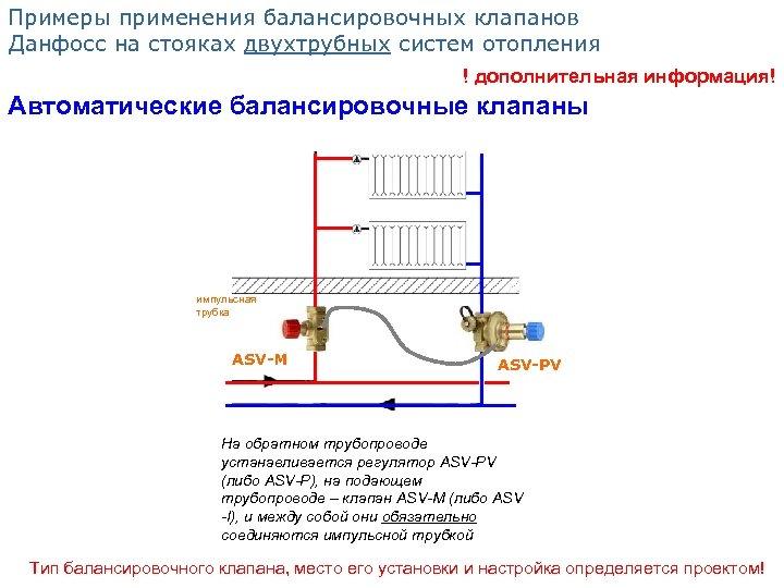 Примеры применения балансировочных клапанов Данфосс на стояках двухтрубных систем отопления ! дополнительная информация! Автоматические