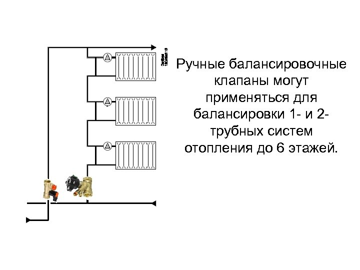 Ручные балансировочные клапаны могут применяться для балансировки 1 - и 2 трубных систем отопления