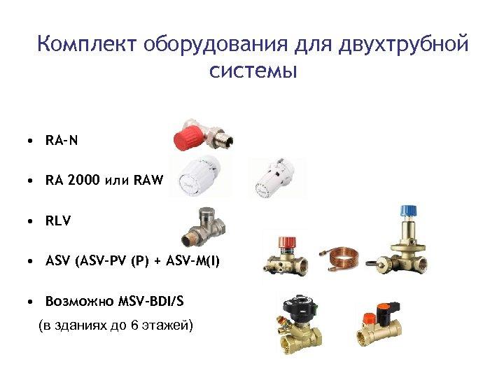 Комплект оборудования для двухтрубной системы • RA-N • RА 2000 или RAW • RLV