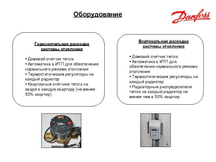 Оборудование Горизонтальная разводка системы отопления • Домовой счетчик тепла • Автоматика в ИТП для