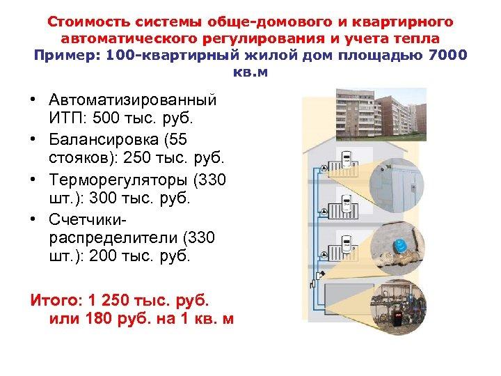 Стоимость системы обще-домового и квартирного автоматического регулирования и учета тепла Пример: 100 -квартирный жилой