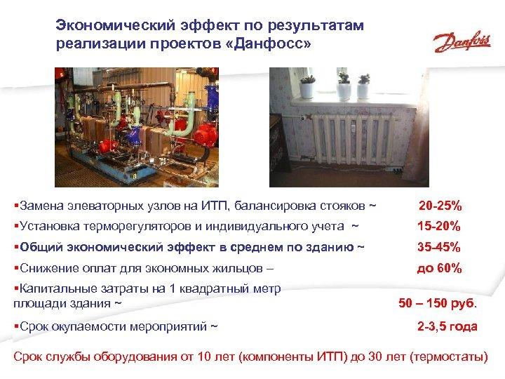 Экономический эффект по результатам реализации проектов «Данфосс» §Замена элеваторных узлов на ИТП, балансировка стояков