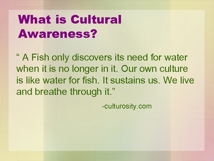 """What is Cultural Awareness? """" A Fish only discovers its need for water when"""