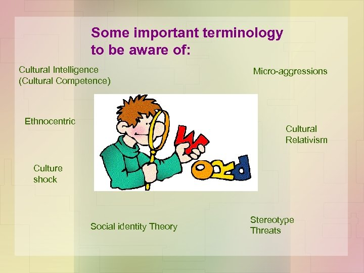 Some important terminology to be aware of: Cultural Intelligence (Cultural Competence) Ethnocentric Micro-aggressions Cultural