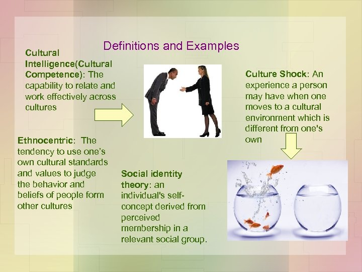 Definitions and Examples Cultural Intelligence(Cultural Competence): The capability to relate and work effectively across