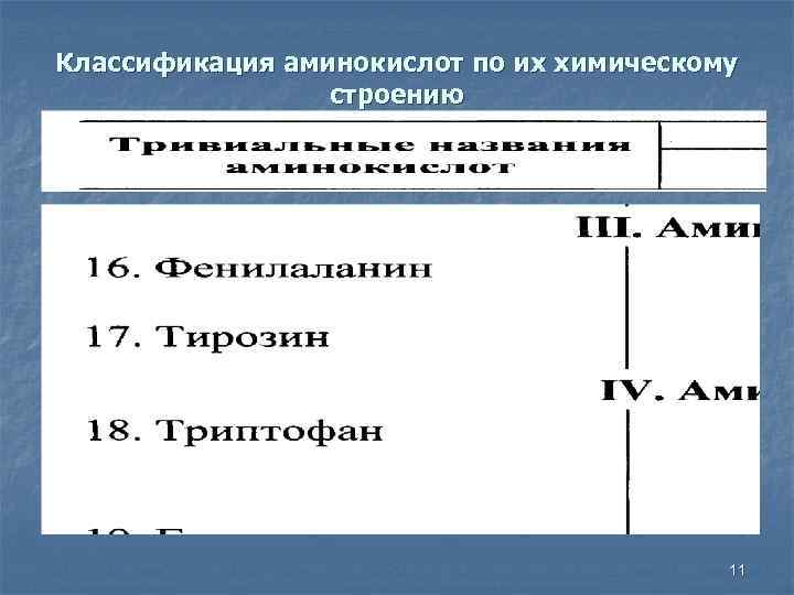 Классификация аминокислот по их химическому строению 11
