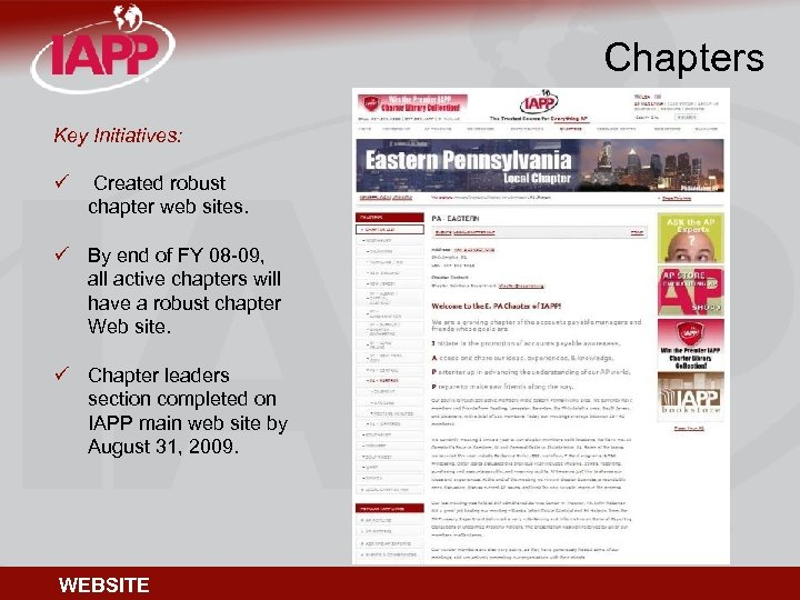 Chapters Key Initiatives: ü Created robust chapter web sites. ü By end of FY