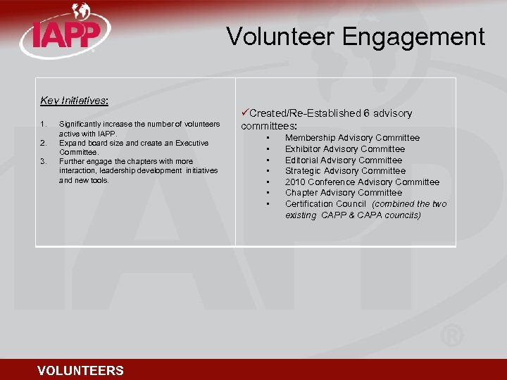 Volunteer Engagement Key Initiatives: 1. 2. 3. Significantly increase the number of volunteers active
