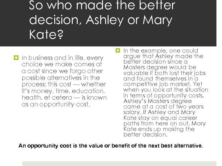 So who made the better decision, Ashley or Mary Kate? In business and in