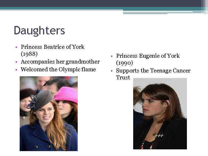 Daughters • Princess Beatrice of York (1988) • Accompanies her grandmother • Welcomed the