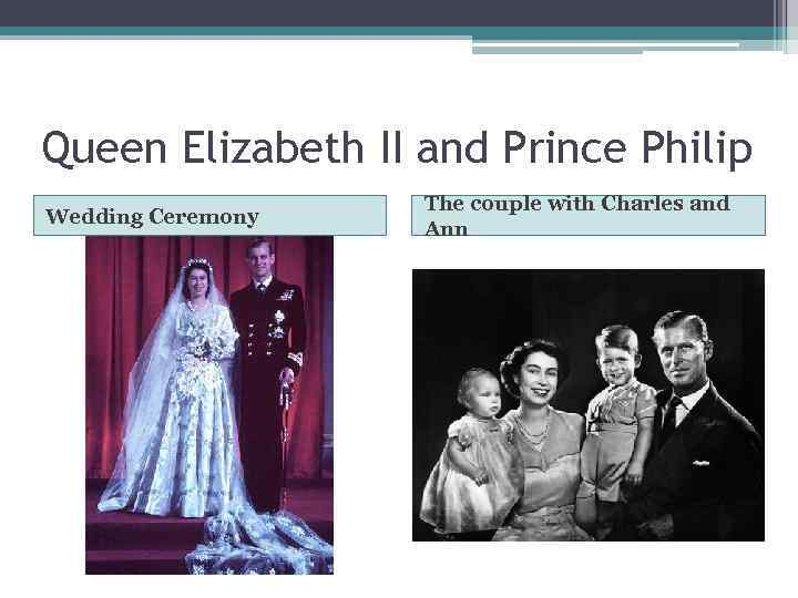 Queen Elizabeth II and Prince Philip Wedding Ceremony The couple with Charles and Ann