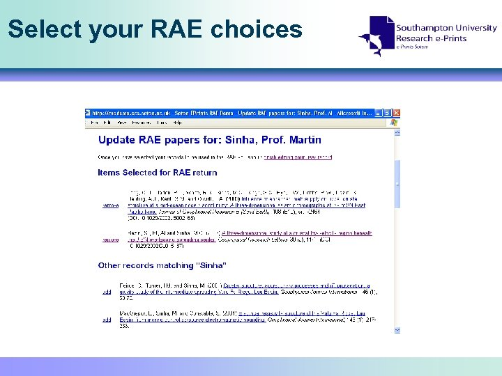 Select your RAE choices