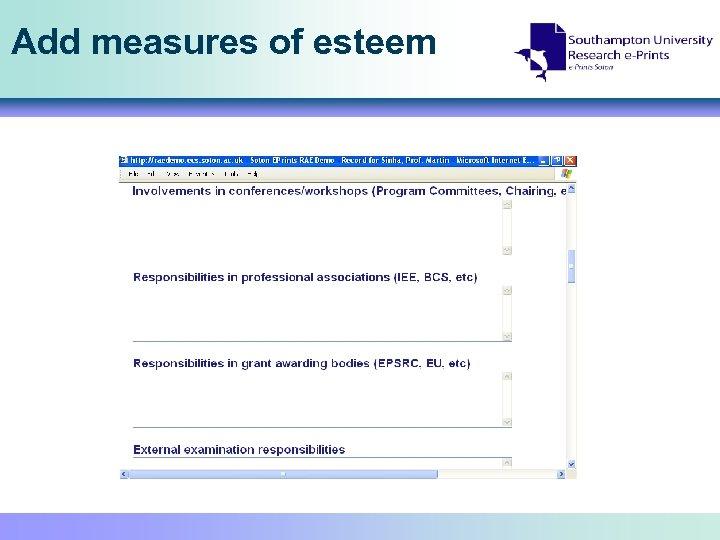 Add measures of esteem