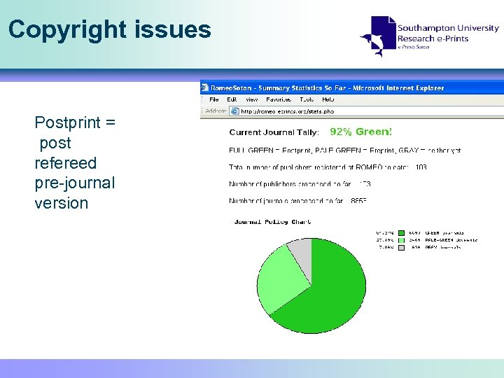Copyright issues Postprint = post refereed pre-journal version