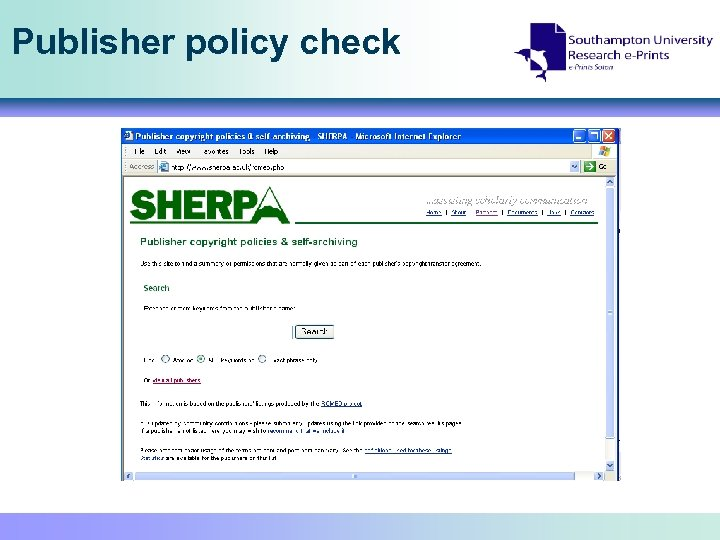 Publisher policy check