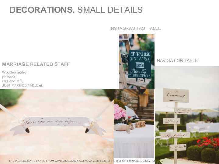 DECORATIONS. SMALL DETAILS INSTAGRAM TAG TABLE MARRIAGE RELATED STAFF NAVIGATION TABLE Wooden tables: phrases,