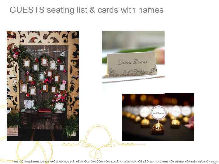 GUESTS seating list & cards with names THE PICTURES ARE TAKEN FROM WWW. ANASTASIAWOLKOVA.
