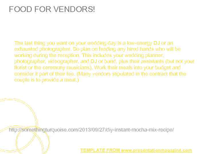 FOOD FOR VENDORS! The last thing you want on your wedding day is a