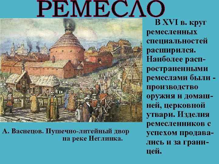 А. Васнецов. Пушечно-литейный двор на реке Неглинка. В XVI в. круг ремесленных специальностей расширился.