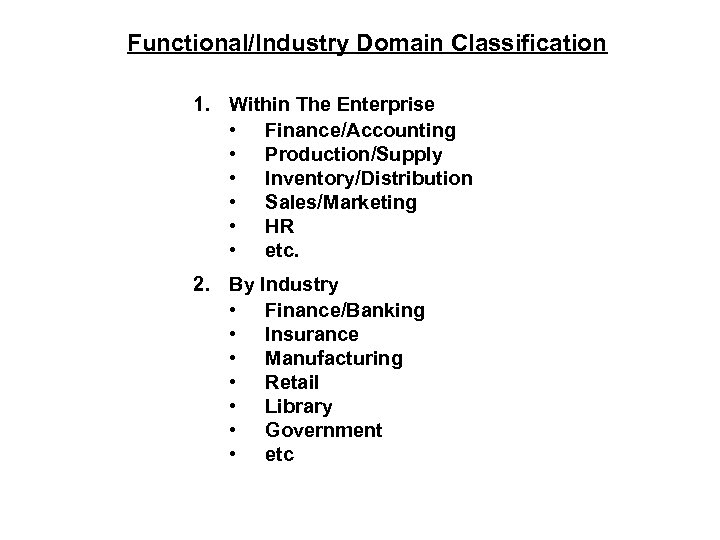 Functional/Industry Domain Classification 1. Within The Enterprise • Finance/Accounting • Production/Supply • Inventory/Distribution •