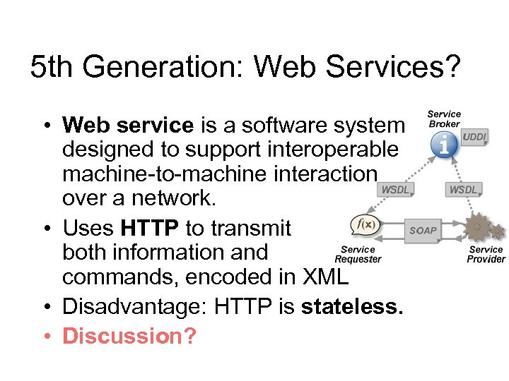 5 th Generation: Web Services? • Web service is a software system designed to