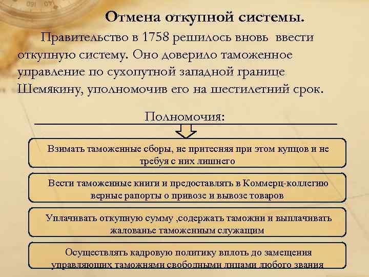 Отмена откупной системы. Правительство в 1758 решилось вновь ввести откупную систему. Оно доверило таможенное