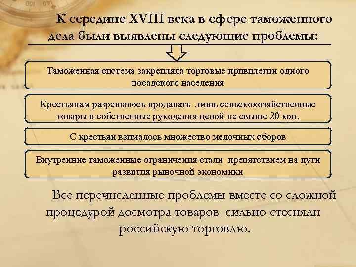 К середине XVIII века в сфере таможенного дела были выявлены следующие проблемы: Таможенная система