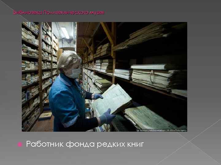 Библиотека Политехнического музея Работник фонда редких книг