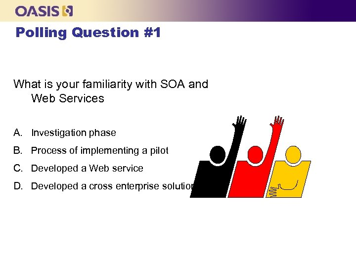 Polling Question #1 What is your familiarity with SOA and Web Services A. Investigation