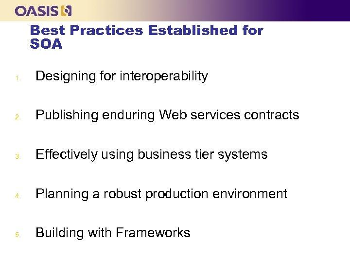Best Practices Established for SOA 1. Designing for interoperability 2. Publishing enduring Web services