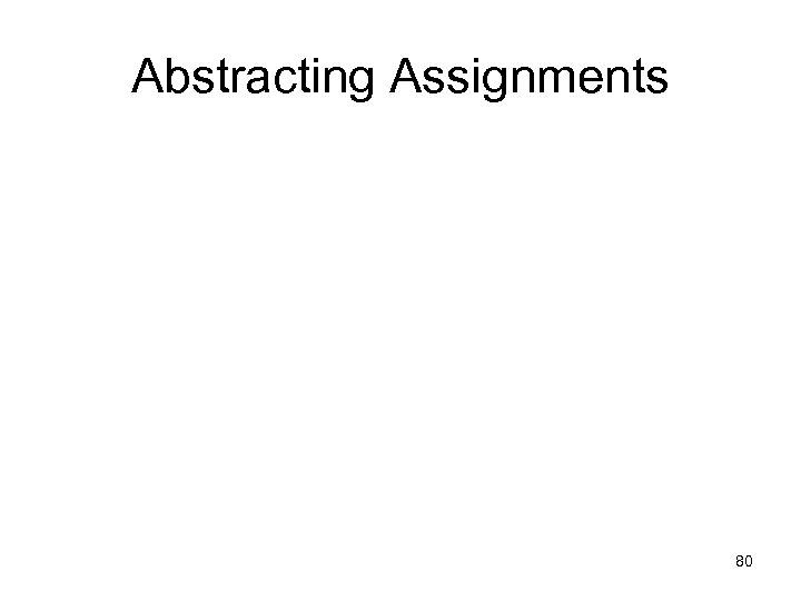 Abstracting Assignments 80