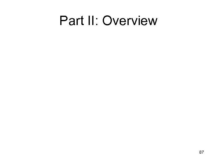 Part II: Overview 87