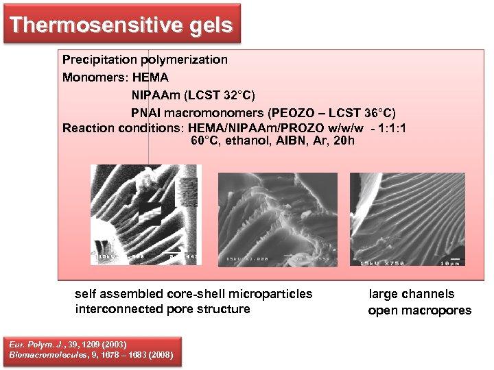 Thermosensitive gels Precipitation polymerization Monomers: HEMA NIPAAm (LCST 32°C) PNAI macromonomers (PEOZO – LCST