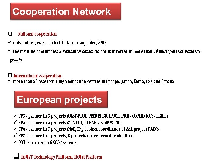 Cooperation Network q National cooperation ü universities, research institutions, companies, SMEs ü the Institute